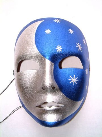 Blue & Silver  Metallic colored Moon Mask